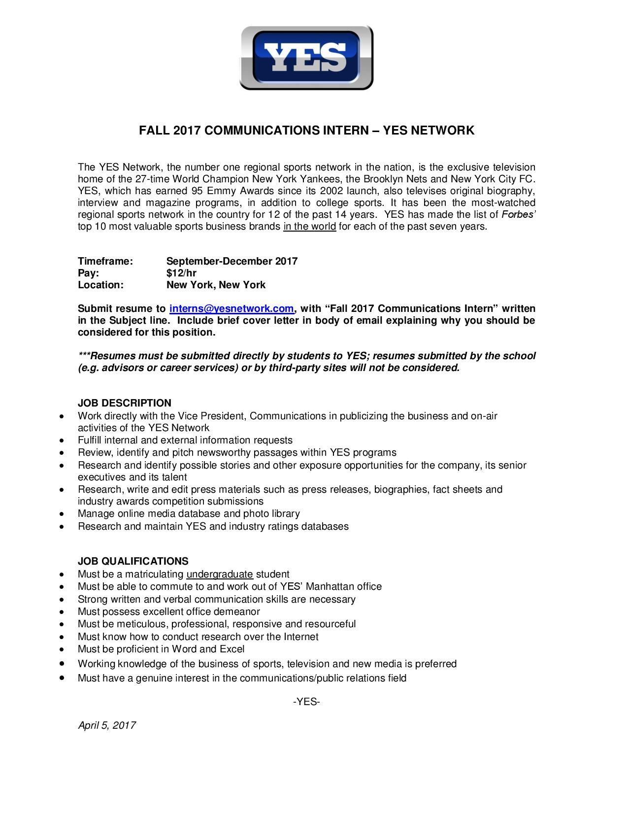 Fall 2017 YES Network Communications Internship – Fordham ...